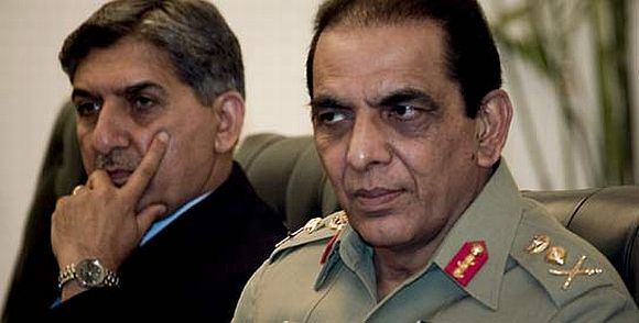 File photo of Army chief Kayani with ISI chief Shuja Pasha