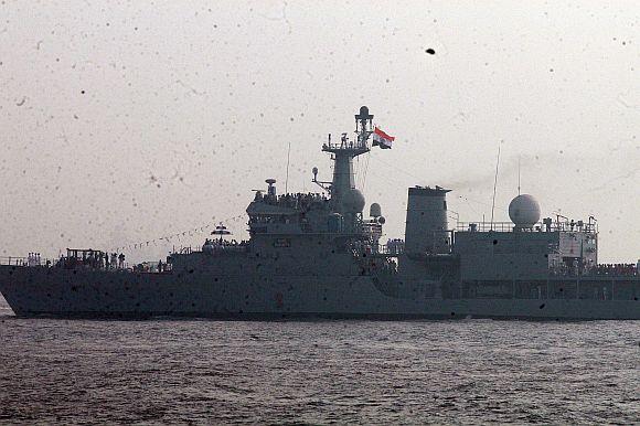 President Patil on board INS Subhadra