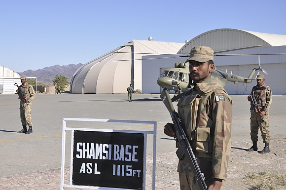 Pakistan Army soldiers at the Shamsi airfield in Baluchistan province which had been leased out to the US