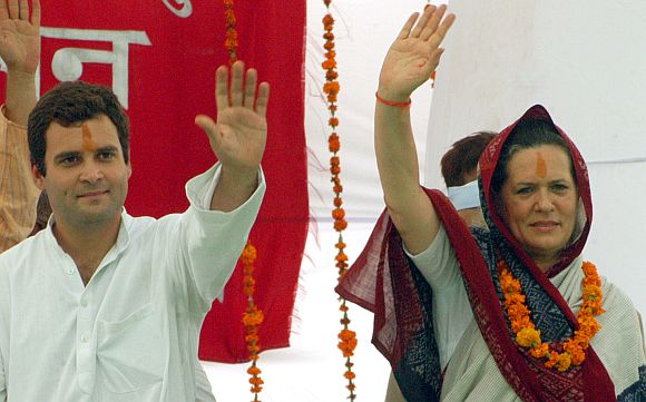 File image of Sonia Gandhi and Rahul Gandhi addressing a rally in Uttar Pradesh