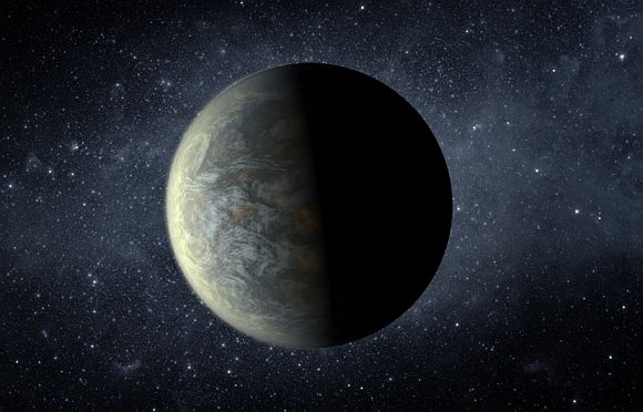 Kepler-20f orbits its star every 19.6 days at a distance of 10.3 million miles. Although its average temperature could be as high as 800 degrees F, it might have been able to retain a water atmosphere as it migrated closer to the star after it formed. This is an artist's rendering.
