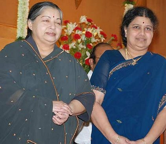 Jayalalithaa with Sasikala at a wedding reception