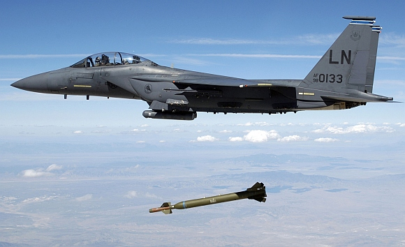 A  F-15E aircraft releases a GBU-28 Bunker Buster 5,000-pound Laser-Guided Bomb