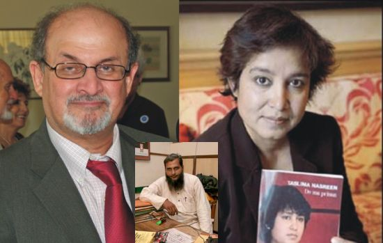 (Left) Salman Rushdie (Right) Tasleema Nasrin (Centre) Dr Shahid Badr Falahi