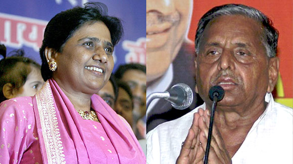 Uttar Pradesh CM Mayawati and SP leader Mulayam Singh Yadav