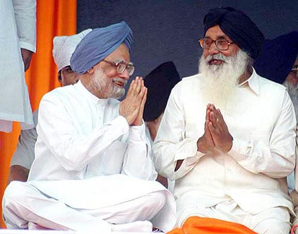 Punjab CM Parkash Singh Badal with Prime Minister Manmohan Singh