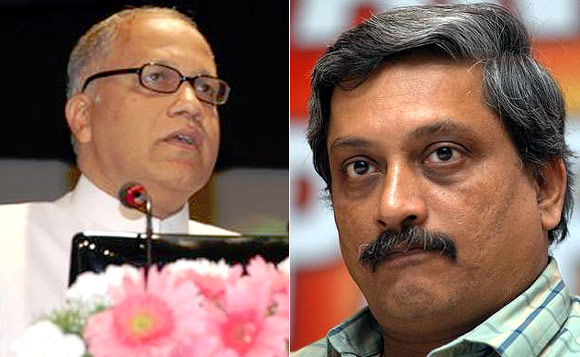 Former Goa chief ministers Digambar Kamat, left, and Manohar Parrikar.