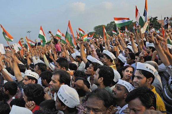 Supporters of Anna Hazare protesting in New Delhi