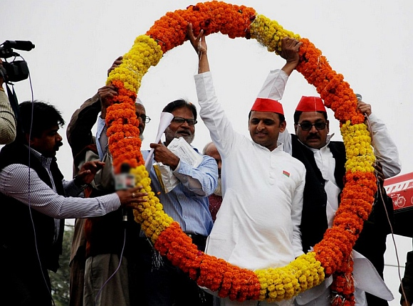 Akhilesh Yadav with supporters at a rally