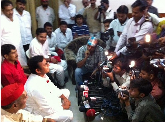 Akhilesh Yadav interacts with the media