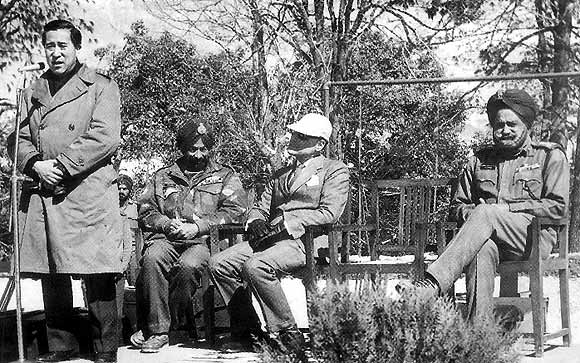 Gyalo Thondup, the Dalai Lama's elder brother, Major General S S Uban, Lieutenant General T S Oberoi after the 1971 war