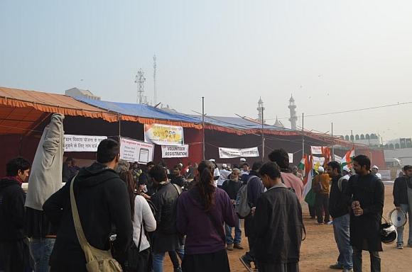 Anna supporters at Ramlila Maidan in New Delhi