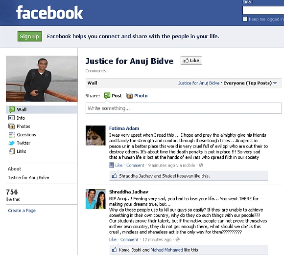 The Justice for Anuj Bidve Facebook page