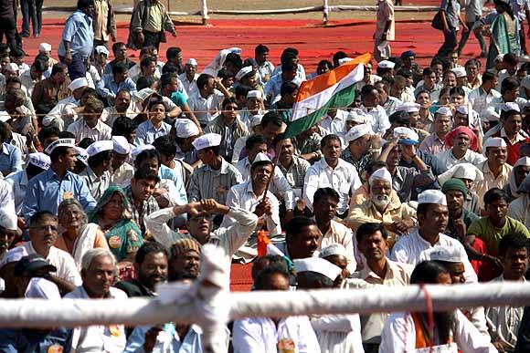 At Anna Hazare's protest fast in Mumbai