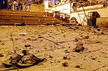 The blast site at Varanasi