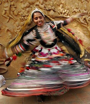 Folk dancers from Rajasthan perform on the eve