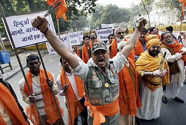 A demonstration in support of Ram Janmabhoomi Temple in Ayodhya