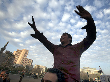 A protester shouts anti-Mubarak slogans during an anti-government protest in Tahrir square in Cairo on Tuesday