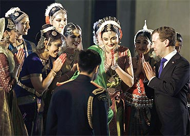 Russia's President Dmitry Medvedev takes part in a welcoming ceremony in Delhi
