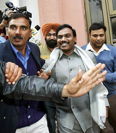 Former telecom minister A Raja after his arrest for his alleged involvement in the 2G 'scam'.