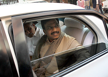 Raja arrives at the CBI office in New Delhi