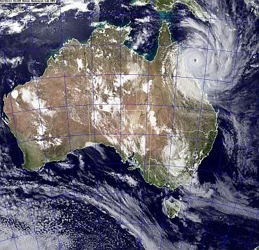 A satellite image obtained from the US Naval Research Laboratory shows Cyclone Yasi
