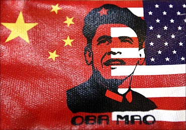 A wallet cover bearing an image of President Barack Obama's face in Beijing