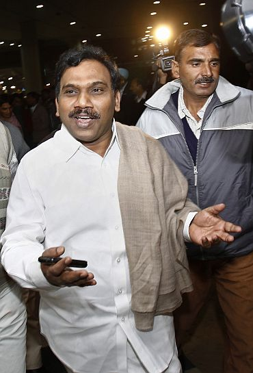 Former Union telecom minister A Raja