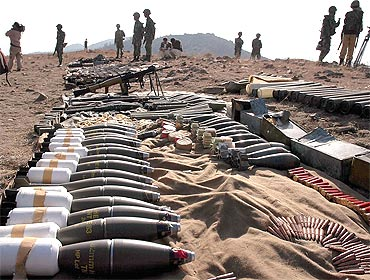 Pakistan army display ammunition confiscated from militants at Karvan Manza in Pakistan's tribal belt along Afghanistan border