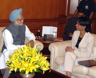 A file photo of Condoleezza Rice with Prime Minister Manmohan Singh