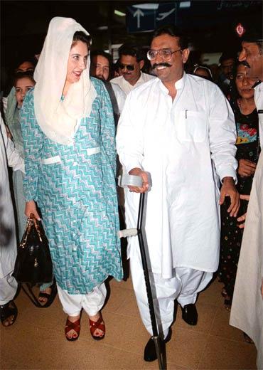A file photo of Benazir Bhutto with her husband Asif Ali Zardari