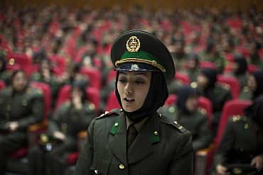 A newly graduated soldier from the Afghan National Army attends a graduation ceremony in Kabul