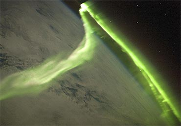 This aurora australis image was taken during a geomagnetic storm that was most likely caused by a coronal mass ejection from the Sun