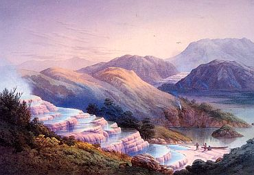 Painting of the Pink Terraces prior to 1886