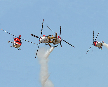 Sarang team performs during Aero India 2011