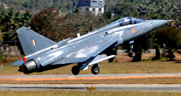 Tejas takes off from the Yelahanka Airforce station