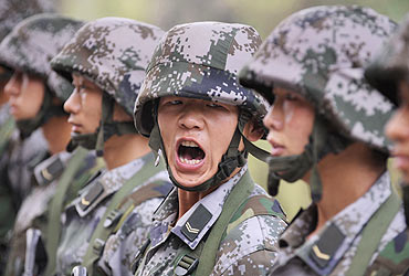 Soldiers of the Chinese People's Liberation Army at a training session in Taiyuan, Shanxi province