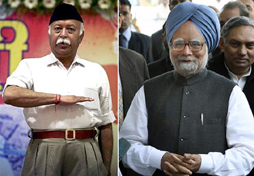 RSS chief Mohan Bhagwat and Prime Minister Manmohan Singh