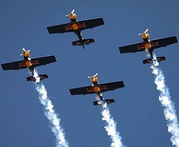 Red Bulls perform at Aero India 2011, in Bengaluru on February 11