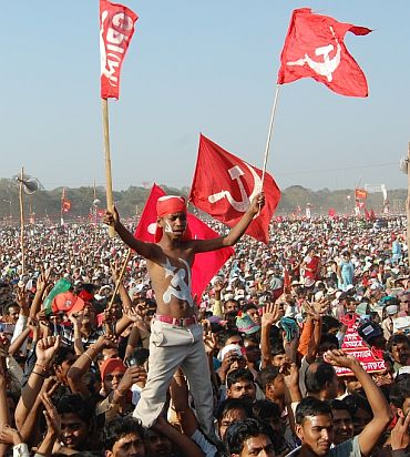 Crowds gather at a CPI-M election rally in West Bengal