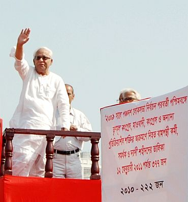 Buddhadeb Bhattacharya at a rally