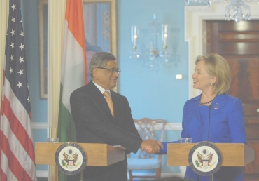 A file photo of S M Krishna with US Secretary of State Hillary Clinton