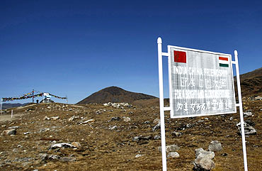 A signboard near the Indo-China border at Bumla, Arunachal Pradesh