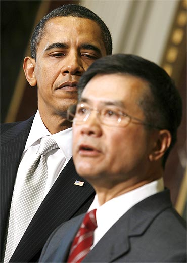 US President Barack Obama with Commerce Secretary Gary Locke