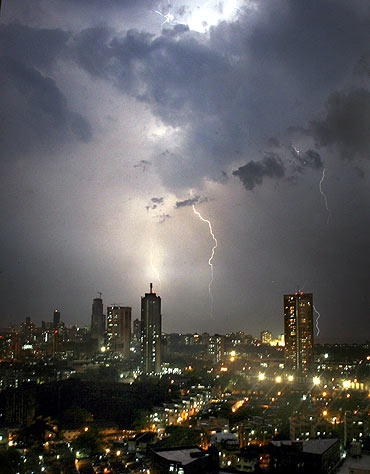 The skyline of Mumbai during the night