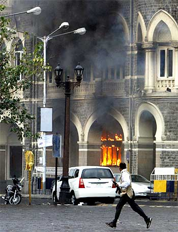 The Taj Mahal Hotel burns during the 26/11 attacks