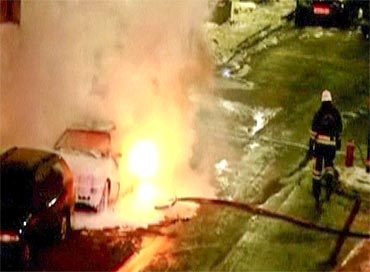A file photgraph of a car blast in Stockholm in December, 2010