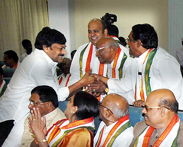 Chiranjeevi with Congress leaders at the Budget session of the AP Assembly