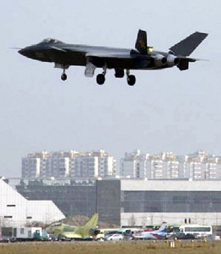 An aircraft reported to be a Chinese stealth fighter is seen in Chengdu, Sichuan province