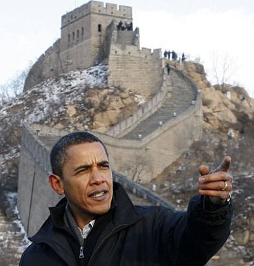 US President Barack Obama at the Great Wall of China